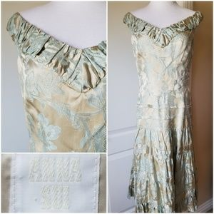 Anna Sui Dress Off Shoulder Satin Lace Tiered 4